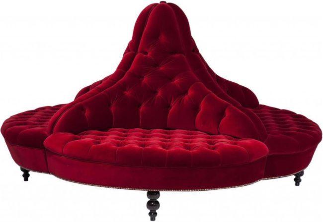 Afbeelding van Kare Design - Bank Around Boudoir Small - 4-zits - Rood Fluweel