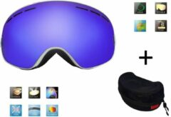 Blauwe Ski bril + hard case lens Smoke Bleu frame Wit F type 2 Cat. 0 tot 4 - ☀/☁ extra lens is optie.