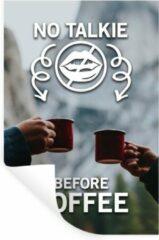 StickerSnake Muursticker Koffie Quotes 2 - Koffie quote 'No talkie before coffee' op een achtergrond met koffiemokken - 80x120 cm - zelfklevend plakfolie - herpositioneerbare muur sticker