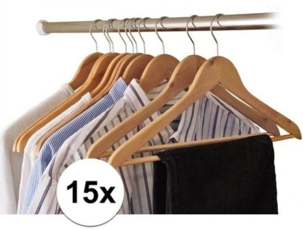 Afbeelding van Bruine Relaxwonen 15x Houten kledinghangers