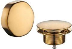Gouden Wiesbaden Gemma knop/plug badoverloopcombinatie, geborsteld messing