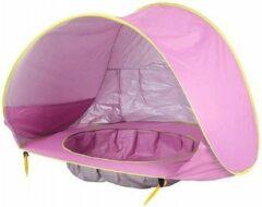 Merkloos / Sans marque Strand Tent Met Zwembad - Roze - UPF 50+ UV Werend - Waterdicht - Pop Up - Baby & Kind
