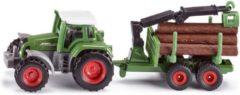 Groene Siku Fendt tractor met aanhangwagen en boomstronken groen (1645)