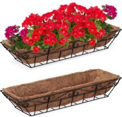 Bruine Relaxdays plantenbakken buiten - 2 stuks - kokos mat - bloembakken - balkonbakken - metaal