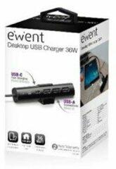 Ewent EW1317 - Netspanningsadapter - 36 Watt - Fast Charge - 4 uitgangsaansluitingen (3 x USB type A, USB-C met stroomtoevoer)