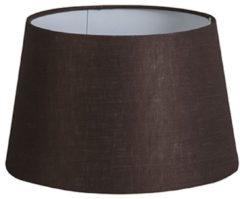 QAZQA Lampenschirm 25cm rund DS E27 leinen braun
