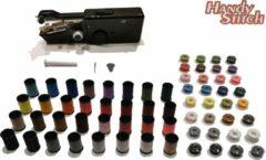Zwarte Handy Switch Handy Stitch - PREMIUM Handnaaimachine met 64 Spoelen garen en accessoires - Compact - Draadloos - Draagbare reis naaimachine - Elektrisch of op Batterijen