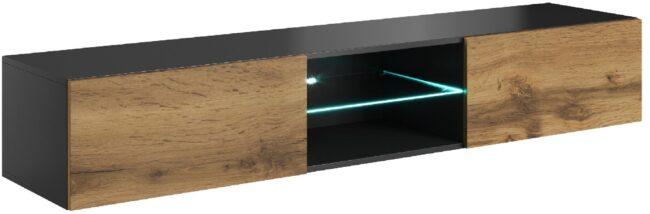 Afbeelding van Home Style Tv-wandmeubel Livo 180 cm breed in votan eiken met antraciet