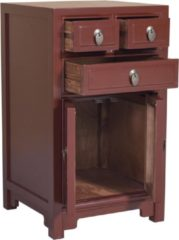 Rode Fine Asianliving Chinese Nachtkastje Bordeaux Red W44xD42xH77cm Chinese Meubels Oosterse Kast