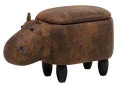 Beliani Hocker kunstleer lichtbruin HIPPO