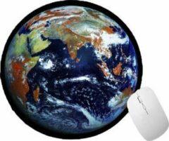 FineGoods Muismat rond - wereldbol - wereld - world globe - muismatten - 20 x 20 cm - ronde mouse pad - mousepad