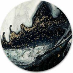 Ronde muursticker marmer in de kleur zwart goud - WallCatcher | 40 cm behangsticker wandcirkel | Herpositioneerbare wandsticker muurcirkel Marble Black Gold