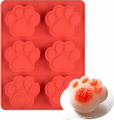 Cabantis Pootafdruk bakvorm|Siliconen bakvormen|Siliconen mallen|Bak spullen|Cake vorm|Chocolade cadeau|Paw print|Paw|Rood