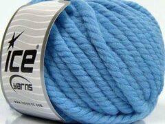Lichtblauwe Ice yarns Wol breien met breinaalden maat 10 – 12 mm. – dikke licht blauwe breiwol kopen pakket van 3 bollen garen 100 gram per bol 100% wol – breigaren van een fijne kwaliteit