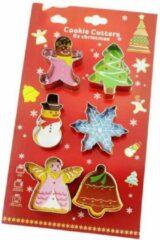 Zilveren Favorite Things Kerst koekjesdeeg uitsteekvormen set - Ster, Sneeuwpop, Koekemannetje, Kerstboom, Bel en Engel uitstekers RVS - Cookie Cutters