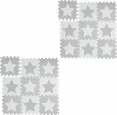 Relaxdays 18 x puzzelmat ster - speelmat - speelkleed - vloerpuzzel - speeltapijt – grijs