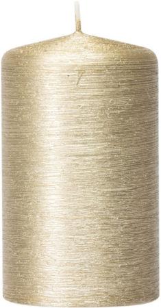 Afbeelding van Enlightening Candles 1x Creme gouden cilinderkaars/stompkaars 6 x 10 cm 25 branduren - Geurloze creme goudkleurige kaarsen - Woondecoraties