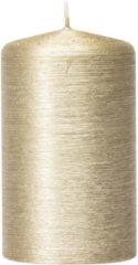 Enlightening Candles 1x Creme gouden cilinderkaars/stompkaars 6 x 10 cm 25 branduren - Geurloze creme goudkleurige kaarsen - Woondecoraties