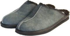Donkerblauwe Van Buren Bolsward BV Schapenvacht pantoffels - Lamsvacht heren slippers - Grijs - Maat 49