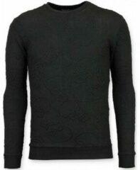 Tony Backer Skull Print Trui - Death's Head Sweater Heren - Zwart Sweaters / Crewnecks Heren Sweater Maat XL