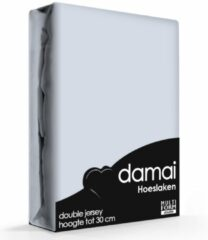 Azuurblauwe Damai - Hoeslaken (tot 25 cm) - Double Jersey - 180 x 220 - 200 x 200 cm - Azure