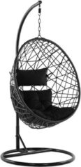 Zwarte Beliani Alatri Hangstoel Met Standaard Pe Rotan 96 X 96 Cm