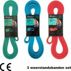 Rode Kaytan - 3 weerstandsbanden set - Resistance bands - Fitness elastieken - Power band 15, 25 en 35 kg
