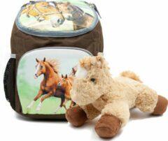B&B Slagharen Rugzak Paard en Veulen - 30 x 21 x 11 cm - Bruin - Rugtas Meisjes - rugtas Jongens -incl Paarden knuffel - pluche Pony 22 cm - licht bruin