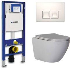 Douche Concurrent Geberit Up 100 Toiletset - Inbouw WC Hangtoilet Wandcloset - Shorty Flatline Delta 50 Wit