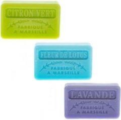 La Maison du Savon de  Marseille Soap bar set - zeep savon de marseille Limoen, Fleur de lotus, Lavendel 3x60 gr