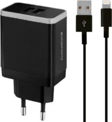 Zwarte Mobiparts Wall Charger Dual USB 4.8A + Lightning Cable Black