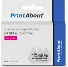 PrintAbout Huismerk compatible met HP 951XL (CN047AE) Inktcartridge Magenta Hoge capaciteit