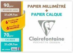 Transparante Clairefontaine A4 – 6x Ruitjespapier + 6x Overtrekpapier