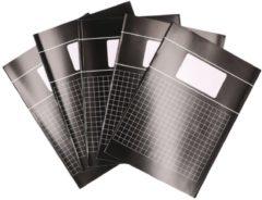 5x zwarte A4 ruitjes schriften 10 mm pakket - Notitieschriften - Schoolschriften