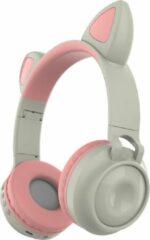 MeGoo Kinder hoofdtelefoon - koptelefoon Bluetooth met led kattenoortjes miauw licht grijs - roze
