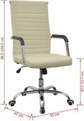 Creme witte VidaXL Bureaustoel 55x63 cm kunstleer gebroken wit (incl. vloerviltjes)