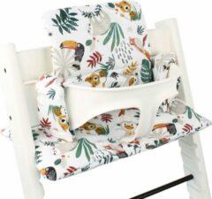 Ukje geplastificeerde kussenset voor kinderstoel Stokke Tripp Trapp apenprint wit