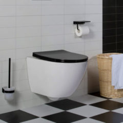 Witte Diamond Line Wandcloset - Hangend Toilet Shorty Flatline Zwart - Inbouwtoilet Rimfree WC Pot