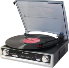 Zwarte Roadstar TTR-8634 platenspeler met FM-radio en ingebouwde luidsprekers