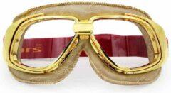 Ediors retro goud, beige leren motorbril | Helder glas