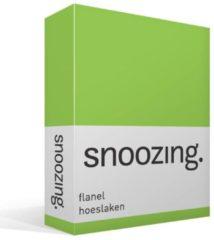 Snoozing Flanel Hoeslaken - 100% Geruwde Flanel-katoen - Lits-jumeaux (160x210/220 Cm) - Lime