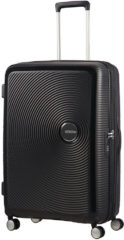 Zwarte American Tourister Soundbox Spinner 77 Expandable bass black Harde Koffer