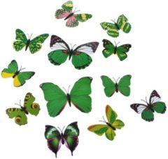 Merkloos / Sans marque Summer edition, mix groen 3D-vlinders