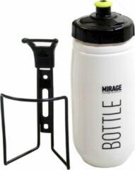 Mirage Bidon Met Bidonhouder Wit/zwart 600 Ml