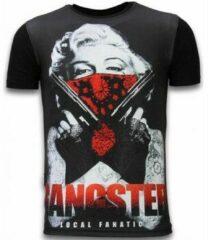 Zwarte T-shirt Korte Mouw Local Fanatic Gangster Marilyn - Digital Rhinestone T-shirt
