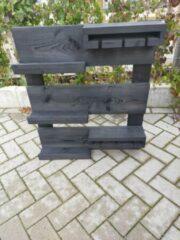 Zwarte Wandbordenshop.nl Hangend wijnrek van Black Wash steigerhout voor aan de muur