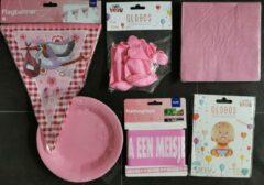 Folat Paperdreams Feestpakket Hoera een meisje - Folieballon / Vlaggenlijn / Afzetlint / Roze balonnen / Servetten / Roze borden - Versieringen - Kraamfeest / Babyshower