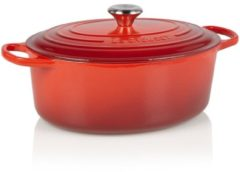 Rode Le Creuset Gietijzeren ovale braadpan in Kersenrood 31cm 6,3l