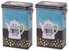 Merkloos / Sans marque 2x Blauwe rechthoekige koffieblikken/bewaarblikken 19 cm - Koffie voorraadblikken - Koffiepads/koffiecups voorraadbussen