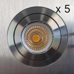 Verlichtingsset Sanimex Njoy 5 LED Spots 9x8 cm Geborsteld Alu